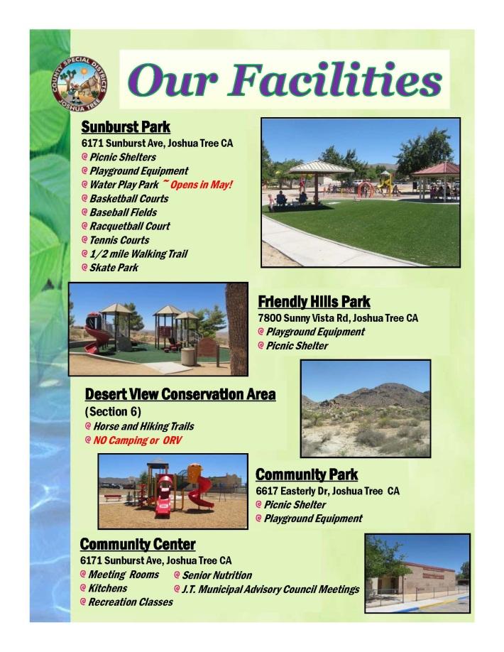 Image describing the various facilities within County Service Area 20