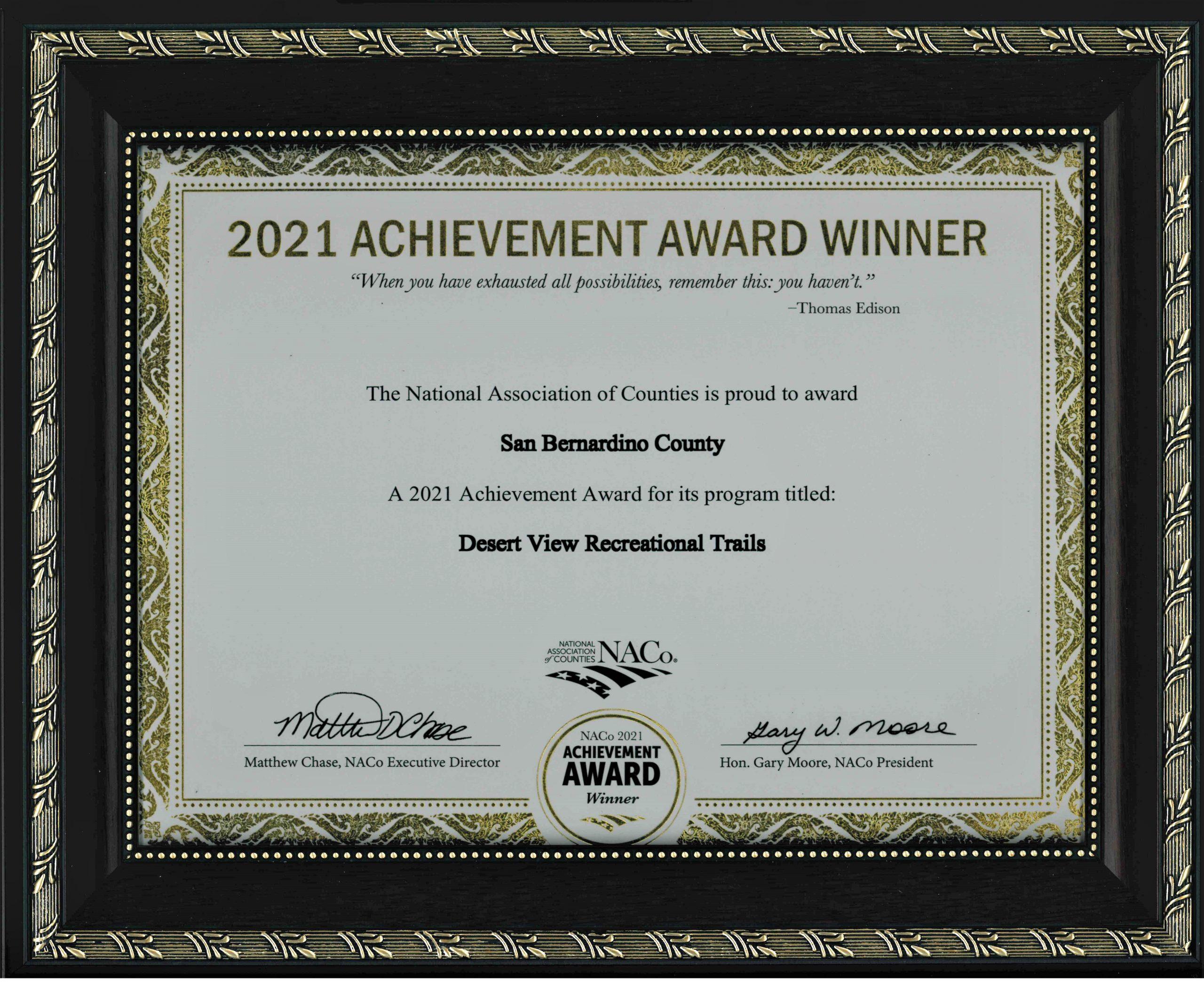 2021 NACO Achievement Award Plaque